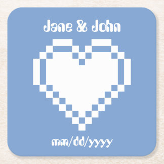 Our 8-Bit Hearts in Periwinkle Paper Coaster