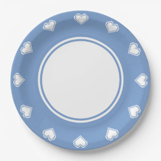 Our 8-Bit Hearts in Periwinkle Paper Plate