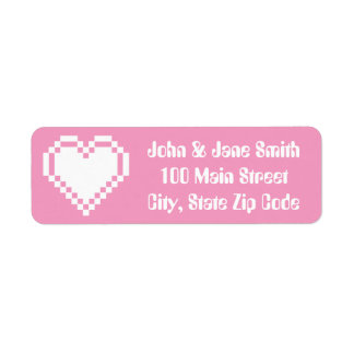 Our 8-Bit Hearts in Petal Pink Address Label