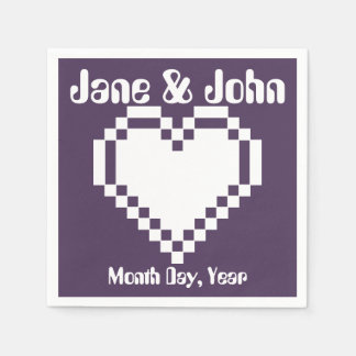 Our 8-Bit Hearts in Purple Napkins