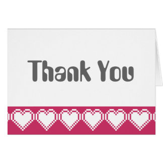 Our 8-Bit Hearts in Raspberry Thank You Card