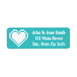 Our 8-Bit Hearts in Turquoise Return Address Label