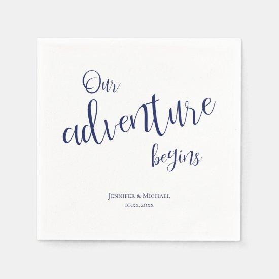 Our adventure begins dark blue typography wedding napkins
