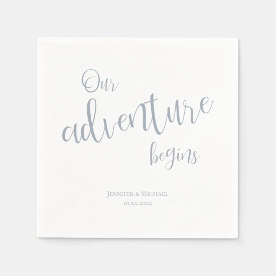 Our adventure begins dusty blue typography wedding napkins