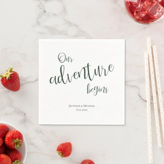 Our adventure begins evergreen typography wedding napkins