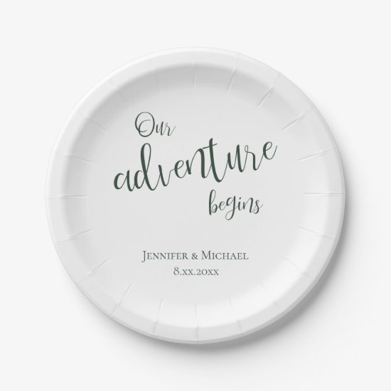 Our adventure begins evergreen typography wedding paper plate
