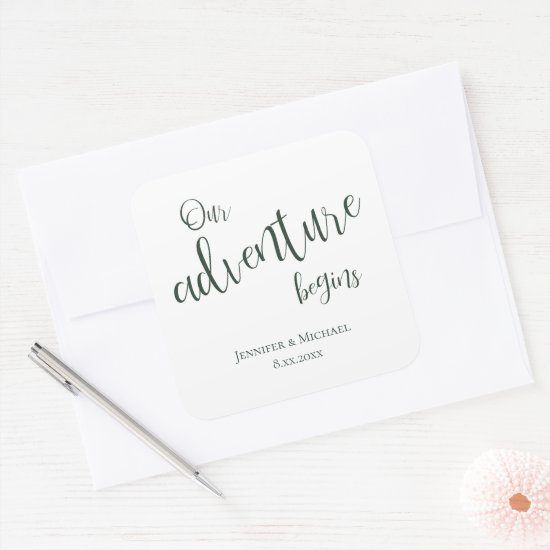 Our adventure begins evergreen typography wedding square sticker