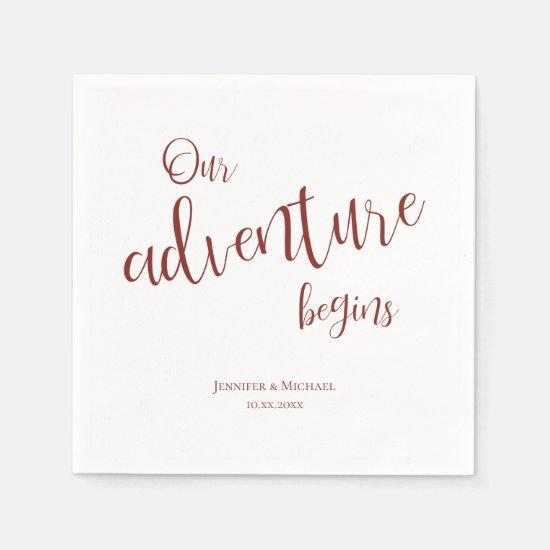 Our adventure begins maroon typography wedding napkins