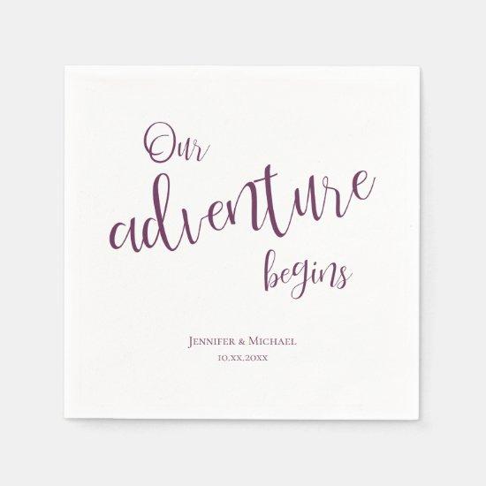 Our adventure begins plum typography wedding napkins