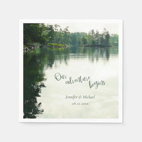 Our adventure begins rustic lakeside wedding napkin
