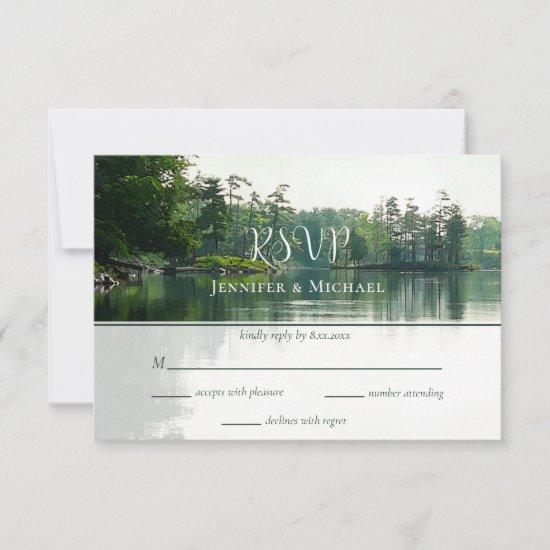 Our adventure begins rustic lakeside wedding RSVP card