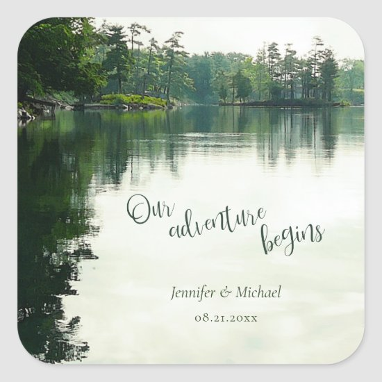 Our adventure begins rustic lakeside wedding square sticker