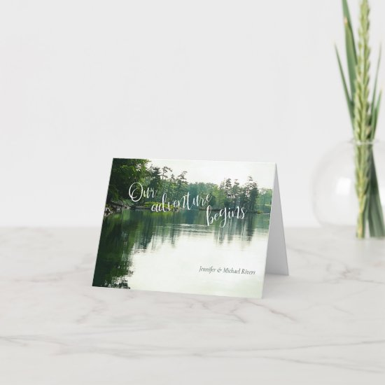 Our adventure begins rustic lakeside wedding thank you card