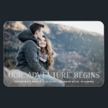 "Our Adventure Begins | Save the Date Magnet<br><div class=""desc"">A rustic save the date photo magnet for the outdoorsy and adventurous couple,  designed to accommodate your favorite horizontal or landscape oriented full-bleed engagement photo. &quot;Our Adventure Begins&quot; appears as a white overlay along the bottom,  with your names,  wedding date and wedding location beneath.</div>"