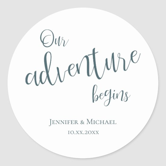 Our adventure begins teal typography wedding classic round sticker
