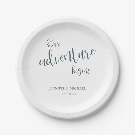 Our adventure begins teal typography wedding paper plate