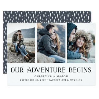 Our Adventure Begins | Three Photo Save the Date Card