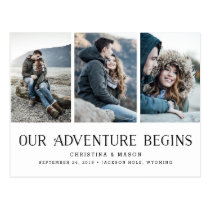 Our Adventure Begins | Three Photo Save the Date Postcard