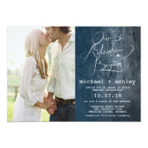 Our Adventure Begins Wedding Invitation with Photo