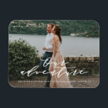 """Our Adventure Save the Date Photo Magnet<br><div class=""""desc"""">Gift your guests with a Save the Date Magnet to showcase on the refrigerator leading up to your big day!   This design features a beautiful romantic script font.</div>"""