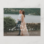 """Our Adventure Save the Date Photo Postcard<br><div class=""""desc"""">Congratulations on your engagement! Save the Date announcements are the first big step in the wedding planning process! Remember, your save the date announcement will set the tone for your big day, be sure to impress guests with an unforgettable design and a peek into what&#39;s to come! This design features...</div>"""