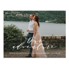 Our Adventure Save The Date Photo Postcard at Zazzle