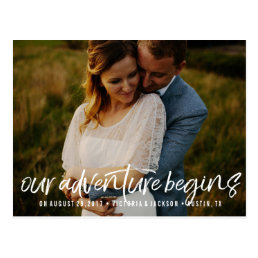 Our Adventure Save the Date Photo  WHITE Postcard
