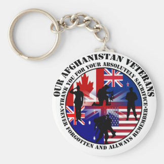 Our Afghanistan of veteran 5 nation Basic Round Button Keychain