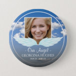 """Our Angel Custom Photo Funeral Button<br><div class=""""desc"""">A button to symbolize that another angel has gained their wings featuring a photo of your loved one,  angel wings,  a blue sky background,  their name and dates. A beautiful tribute for friends and family to wear at a memorial service or funeral.</div>"""