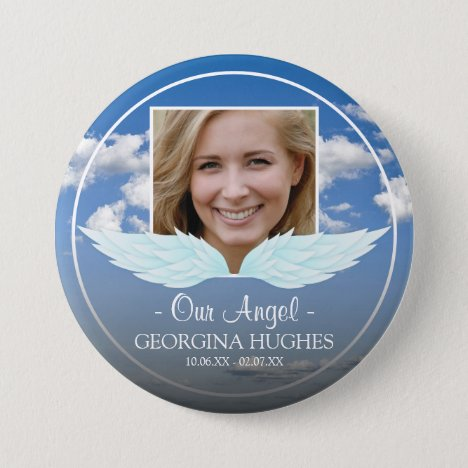 Our Angel Custom Photo Funeral Button