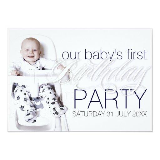 Our Baby Boy Photo Birthday White Party Invitation