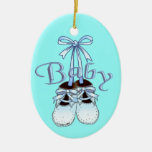 Our Baby Boy Shoes Double-Sided Oval Ceramic Christmas Ornament