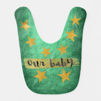 Our Baby Hollywood Star Shiny Green Gold Baby Bib