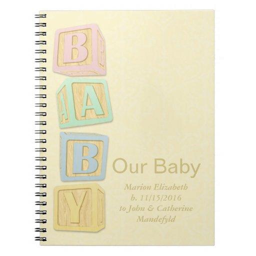 Our Baby Yellow Alphabet Blocks Custom Notebook