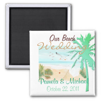 Our Beach Wedding 2 Inch Square Magnet