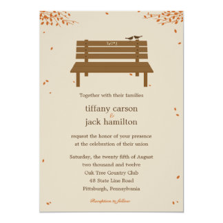 "Our Bench Fall Wedding Invitation 5"" X 7"" Invitation Card"