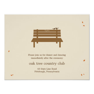 Our Bench Wedding Reception Card