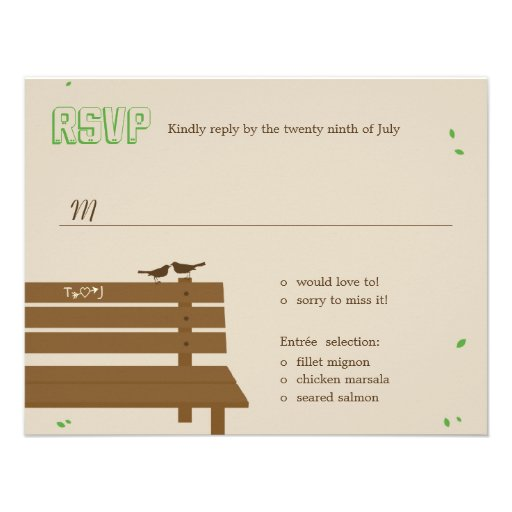 Our Bench Wedding RSVP Response Cards 425 X 55 Invitation Card