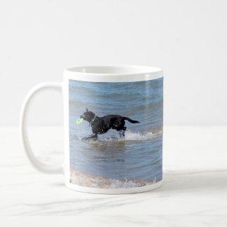 Our Black Labrador Retrieving Frisbee from Lake Coffee Mug
