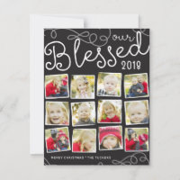 Our Blessed Year Christmas Photo Collage Holiday Card