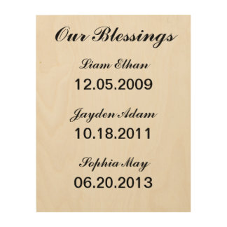 """""""Our Blessings"""" Personalized Wooden Canvas Wood Canvases"""
