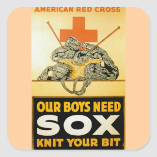 Our Boys Need Sox ~ Knit Your Bit Square Sticker
