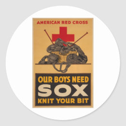 Our boys need sox Red Cross World War 2 Classic Round Sticker