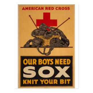 Our boys need sox Red Cross World War 2 Postcard