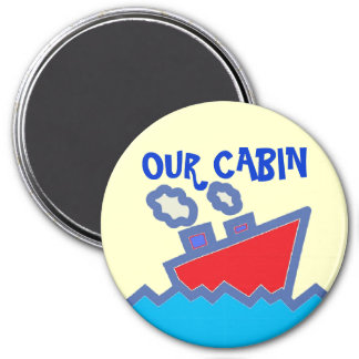 Our Cabin Stateroom  Door Marker 3 Inch Round Magnet