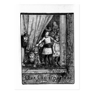 Our Christmas Tree Vintage Victorian Winter Scene Postcard