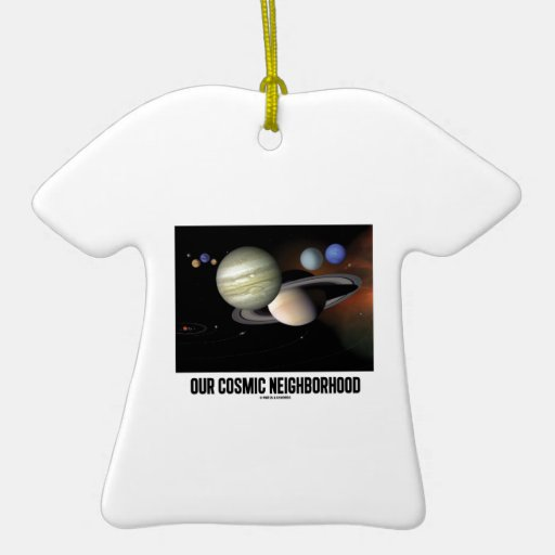 Our Cosmic Neighborhood (Solar System) Double-Sided T-Shirt Ceramic Christmas Ornament