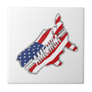 Our country of red, white and blue small square tile