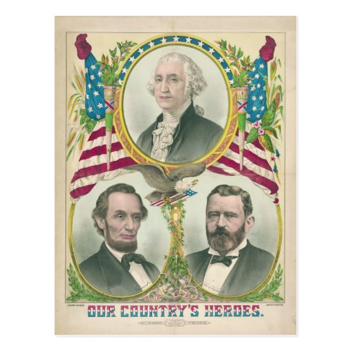 Our Country's Heroes Washington Lincoln Grant Post Card