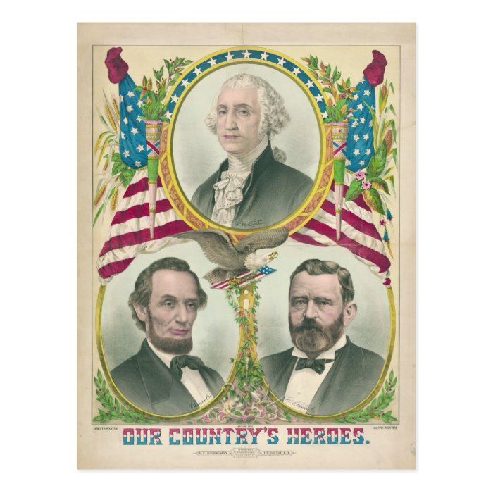 Our Country's Heroes Washington Lincoln Grant Postcard